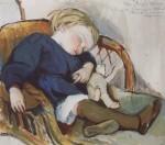 Живопись | Зинаида Серебрякова | Так заснул Бинька (Женя Серебряков), 1908