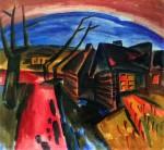 Живопись | Карл Шмидт-Ротлуф | Русская деревня ночью, 1919