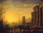 Живопись   Клод Лоррен   Утро в гавани, 1630-40
