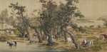Живопись | Джузеппе Кастильоне (Лан Шинин) | Сто благородных скакунов, 1723-28 (Фрагмент)