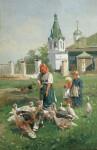 Живопись | Николай Маковский | Кормление индюшек