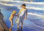 Живопись | Хоакин Соролья-и-Бастида | Валенсия, две девочки на пляже, 1904