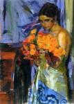 Живопись | Александр Мурашко | Женщина с настурциями, 1918