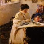 Живопись | Александр Мурашко | За пяльцами. Портрет Е.А. Праховои, 1905