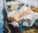 Живопись | Лео Путц | Female Nude on a Boat, 1912