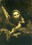 Графика   Одилон Редон   Калибан на ветке, 1881