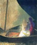 Живопись | Одилон Редон | Boat with Two Figures, 1902