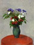 Живопись | Одилон Редон | Vase of Flowers on a Red Tablecloth, 1900