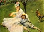 Живопись | Пьер Огюст Ренуар | Камилла Моне и ее сын Жан в саду в Аржантее, 1874
