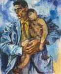 Живопись | Ренато Гуттузо | Портрет Рокко с сыном, 1960