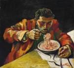 Живопись | Ренато Гуттузо | Человек, который ест спагетти, 1956