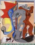 Живопись | Ле Корбюзье | Grey Woman, Red Man and Bones in Front of a Door, 1931