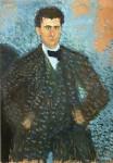 Живопись | Рихард Герстль | Self-Portrait in front of Blue-Green Background, 1907