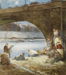 Живопись | Эверетт Шинн | Fishing on the Seine, 1951