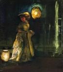 Живопись | Эверетт Шинн | Girl with Japanese Lanterns, 1912