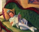 Живопись | Джон Френч Слоун | Young Girl Reading, Gloucester, 1917