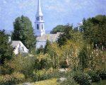 Живопись | Джон Эннекинг | Hollyhocks Garden, Mystic, Connecticut, 1915