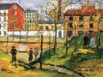 Живопись | Морис Утрилло | Figures in a Plaza, 1923