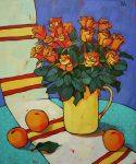 Живопись | Дина Калинкина | Красный натюрморт с розами
