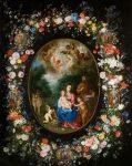 Живопись | Ян Брейгель Младший и Хендрик ван Бален | Святое семейство с Иоанном Крестителем в цветочной гирлянде