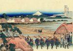 Гравюра | Кацусика Хокусай | Вид на гору Фудзи из развлекательного квартала в Сэндзю
